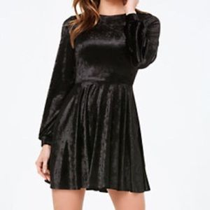 Bebe Black Velvet Flared Skater Dress